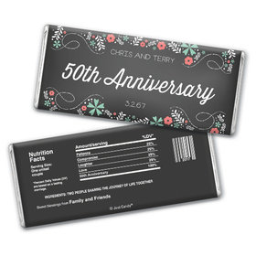 Anniversary Personalized Chocolate Bar Flowers & Scrolls