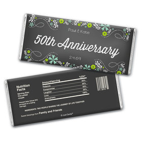 Anniversary Personalized Chocolate Bar Wrappers Flowers & Scrolls