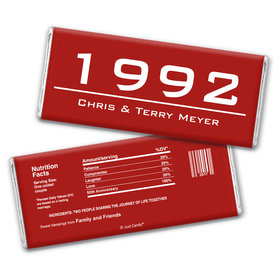 Anniversary Personalized Chocolate Bar Wrappers Banner Year