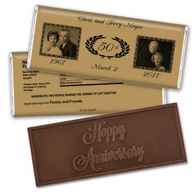 Anniversary Personalized Embossed Chocolate Bar Then and Now Photos Golden 50th