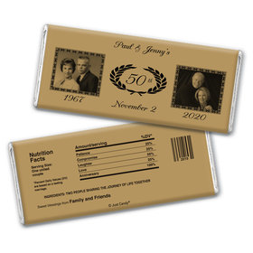 Anniversary Personalized Chocolate Bar Wrappers Then and Now Photos Golden 50th