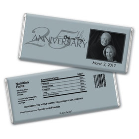 Anniversary Party Favors Personalized Chocolate Bar 25th Silver Anniversary Party Favors - Simple Photo Chocolate & Wrapper
