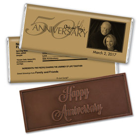 Anniversary Party Favors Personalized Embossed Chocolate Bar 50th Golden Anniversary Party Favors - Simple Photo Chocolate & Wrapper