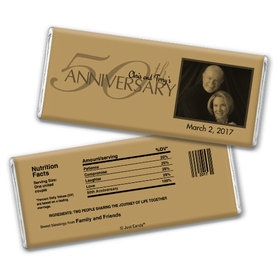 Anniversary Party Favors Personalized Chocolate Bar 50th Golden Anniversary Party Favors - Simple Photo Chocolate & Wrapper