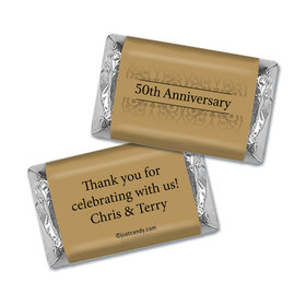 Anniversary Personalized Hershey's Miniatures Wrappers Golden 50th