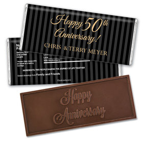Anniversary Personalized Embossed Chocolate Bar 50th Pinstripe
