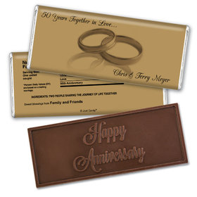 Anniversary Personalized Embossed Chocolate Bar 50th Rings