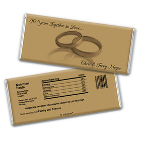 Anniversary Personalized Chocolate Bar 50th Rings