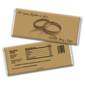 Anniversary Personalized Chocolate Bar Wrappers 50th Rings