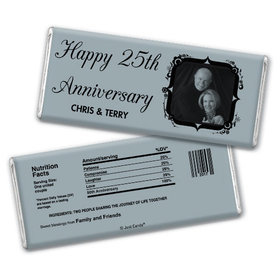 Anniversary Party Favors Personalized Chocolate Bar 25th Anniversary Candy - Tomorrow & Forever 25th Party Favors & Wrapper with Gold Foil