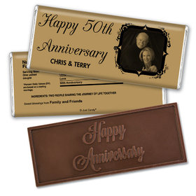 Anniversary Personalized Embossed Chocolate Bar 50th Anniversary Candy - Tomorrow & Forever Party Favors & Wrapper