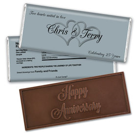 Anniversary Personalized Embossed Chocolate Bar Chocolate & Wrapper Always My One 25th Anniversary Favors