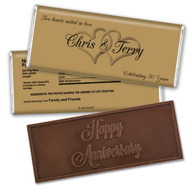 Anniversary Personalized Embossed Chocolate Bar Chocolate & Wrapper Always My One 50th Anniversary Favors