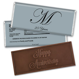 Anniversary Personalized Embossed Chocolate Bar Chocolate & Wrapper Formal 25th Anniversary Party Favors