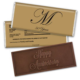 Anniversary Personalized Embossed Chocolate Bar Chocolate & Wrapper Formal 50th Anniversary Party Favors