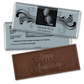 Anniversary Personalized Embossed Chocolate Bar Chocolate & Wrapper Forever Yours 25th Anniversary Favors