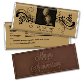 Anniversary Personalized Embossed Chocolate Bar Chocolate & Wrapper Forever Yours 50th Anniversary Favors