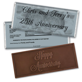 Anniversary Personalized Embossed Chocolate Bar Chocolate & Wrapper Two of a Kind 25th Anniversary Favors