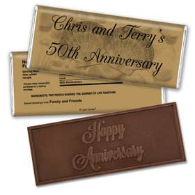 Anniversary Personalized Embossed Chocolate Bar Chocolate & Wrapper Two of a Kind 50th Anniversary Favors