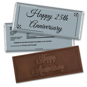 Anniversary Personalized Embossed Chocolate Bar Chocolate & Wrapper Simple Truth 25th Anniversary Favors