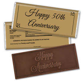 Anniversary Personalized Embossed Chocolate Bar Chocolate & Wrapper Simple Truth 50th Anniversary Favors