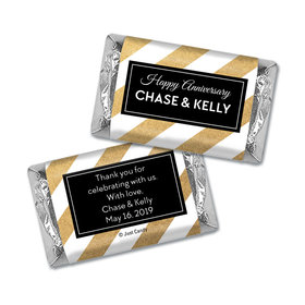 Personalized Hershey's Miniatures Wrappers Shimmering Stripes Anniversary Favors