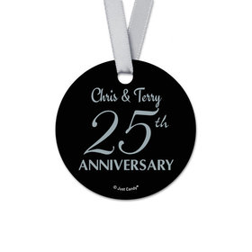 Personalized Round 25th Anniversary Favor Gift Tags (20 Pack)