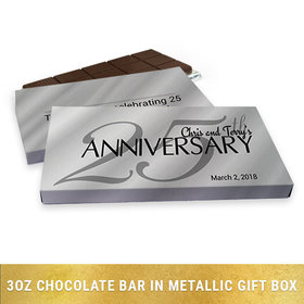 Deluxe Personalized Anniversary Classic 25th Chocolate Bar in Silver Metallic Gift Box