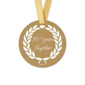 Personalized Round Gold Laurel Wreath Anniversary Favor Gift Tags (20 Pack)
