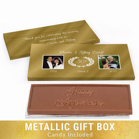 Deluxe Personalized Anniversary Gilded Fluer De Lis Chocolate Bar in Gold Metallic Gift Box
