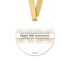 Personalized Round Gold Fleur de Lis Anniversary Favor Gift Tags (20 Pack)