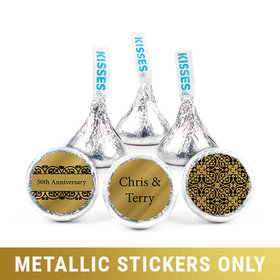 "Personalized Metallic Anniversary Golden 50th 3/4"" Stickers (108 Stickers)"