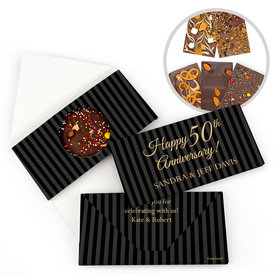 Personalized 50th Anniversary Pinstripe Gourmet Infused Belgian Chocolate Bars (3.5oz)