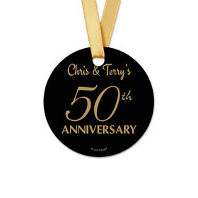 Personalized Round 50th Anniversary Favor Gift Tags (20 Pack)