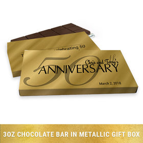 Deluxe Personalized Anniversary Classic 50th Chocolate Bar in Gold Metallic Gift Box