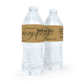 Personalized Anniversary Simple 50th Water Bottle Sticker Labels (5 Labels)