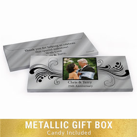 Deluxe Personalized 25th Anniversary Forever Yours Chocolate Bar in Silver Metallic Gift Box