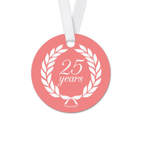 Personalized Round Anniversary Laurel Wreath Favor Gift Tags (20 Pack)