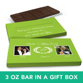 Deluxe Personalized Anniversary Then & Now Photo Belgian Chocolate Bar in Gift Box (3oz Bar)