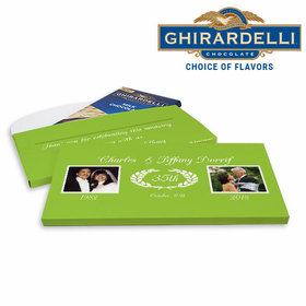 Deluxe Personalized Anniversary Then & Now Photo Ghirardelli Chocolate Bar in Gift Box