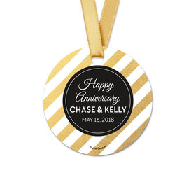 Personalized Round Shimmering Stripes Anniversary Favor Gift Tags (20 Pack)