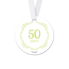 Personalized Round Script Love Anniversary Favor Gift Tags (20 Pack)