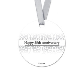 Personalized Round Fleur de Lis Anniversary Favor Gift Tags (20 Pack)