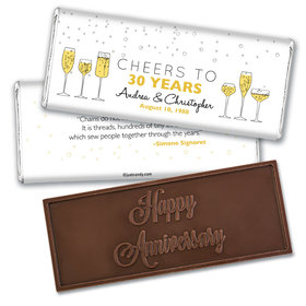 Wedding Anniversary Personalized Embossed Chocolate Bar Cheers To Love