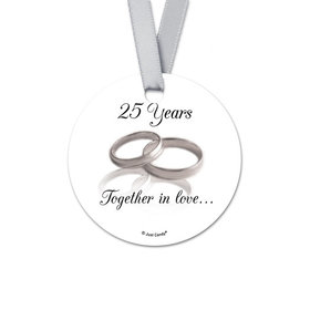 Personalized Round Gilded Rings Anniversary Favor Gift Tags (20 Pack)