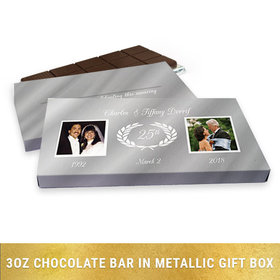 Deluxe Personalized Anniversary Gilded Fluer De Lis Gold Chocolate Bar in Silver Metallic Gift Box