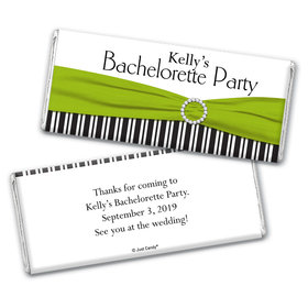 Bachelorette Party Favor Personalized Chocolate Bar Wrappers Glamour Stripes and Bow