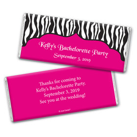 Bachelorette Party Favor Personalized Chocolate Bar Wrappers Zebra Stripes