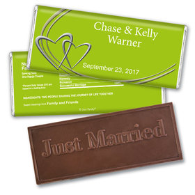Wedding Favor Personalized Embossed Chocolate Bar Linked Hearts