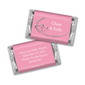 Wedding Favor Personalized Hershey's Miniatures Linked Hearts